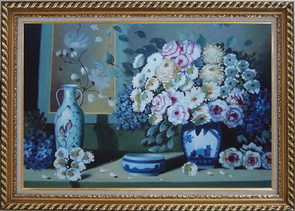 Framed Still Life Ceramic Jug, Ashtray with Flowers in Vase Oil Painting Bouquet Impressionism Exquisite Gold Wood Frame 30 x 42 Inches