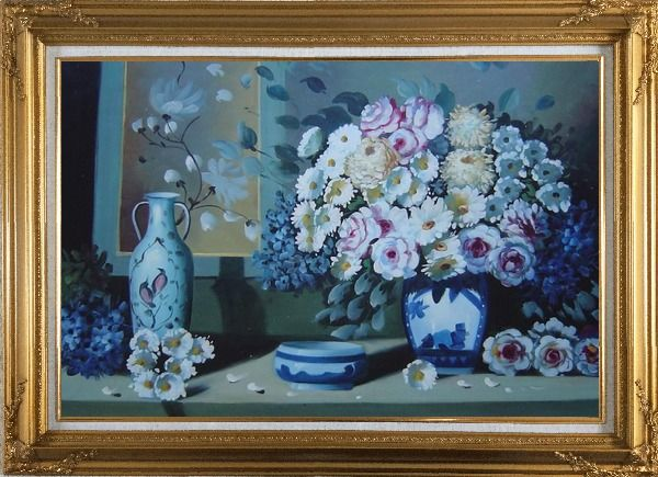 Framed Still Life Ceramic Jug, Ashtray with Flowers in Vase Oil Painting Bouquet Impressionism Gold Wood Frame with Deco Corners 31 x 43 Inches