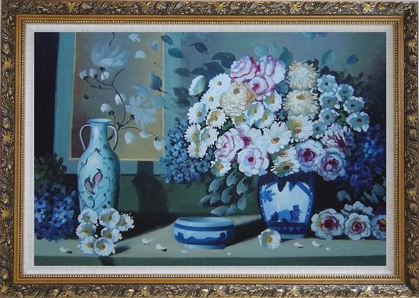 Framed Still Life Ceramic Jug, Ashtray with Flowers in Vase Oil Painting Bouquet Impressionism Ornate Antique Dark Gold Wood Frame 30 x 42 Inches
