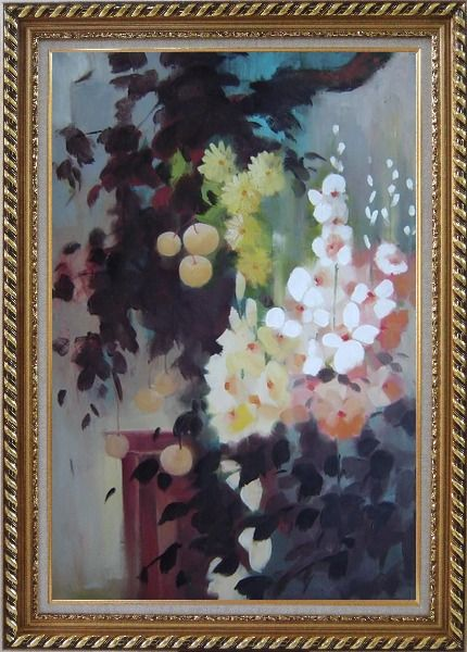 Framed Beautiful Flowers and Pear Tree Oil Painting Still Life Impressionism Exquisite Gold Wood Frame 42 x 30 Inches