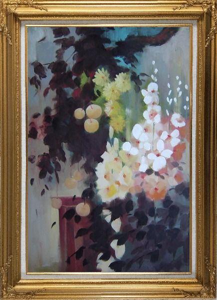Framed Beautiful Flowers and Pear Tree Oil Painting Still Life Impressionism Gold Wood Frame with Deco Corners 43 x 31 Inches