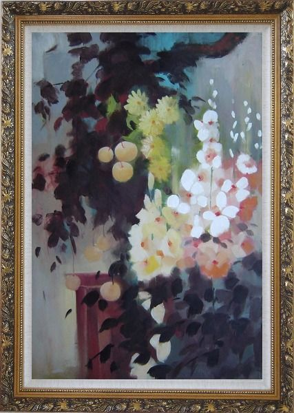 Framed Beautiful Flowers and Pear Tree Oil Painting Still Life Impressionism Ornate Antique Dark Gold Wood Frame 42 x 30 Inches