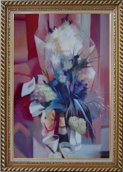 Framed Elegant Bouquet in Pink Background Oil Painting Still Life Flower Impressionism Exquisite Gold Wood Frame 42 x 30 Inches