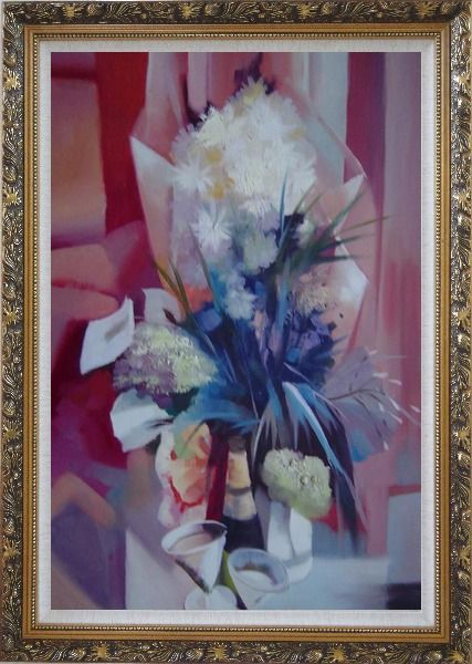 Framed Elegant Bouquet in Pink Background Oil Painting Still Life Flower Impressionism Ornate Antique Dark Gold Wood Frame 42 x 30 Inches