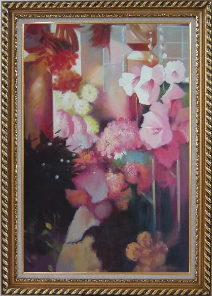 Framed Elegant Pink Flowers in a Warm Setting Oil Painting Still Life Impressionism Exquisite Gold Wood Frame 42 x 30 Inches