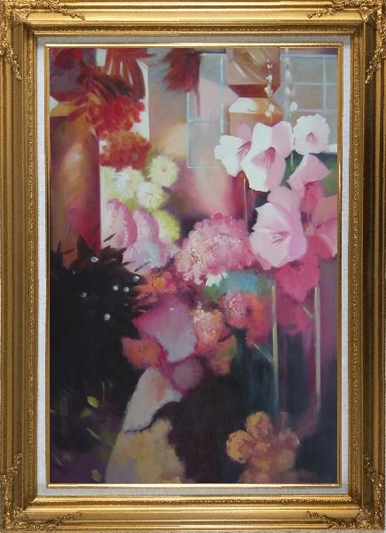 Framed Elegant Pink Flowers in a Warm Setting Oil Painting Still Life Impressionism Gold Wood Frame with Deco Corners 43 x 31 Inches