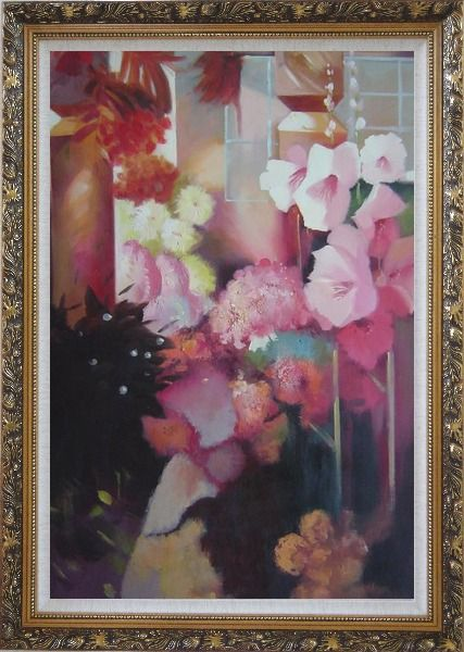 Framed Elegant Pink Flowers in a Warm Setting Oil Painting Still Life Impressionism Ornate Antique Dark Gold Wood Frame 42 x 30 Inches