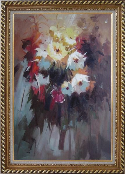 Framed Flowers in Impression Oil Painting Still Life Impressionism Exquisite Gold Wood Frame 42 x 30 Inches