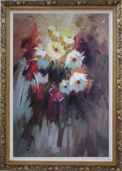 Framed Flowers in Impression Oil Painting Still Life Impressionism Ornate Antique Dark Gold Wood Frame 42 x 30 Inches