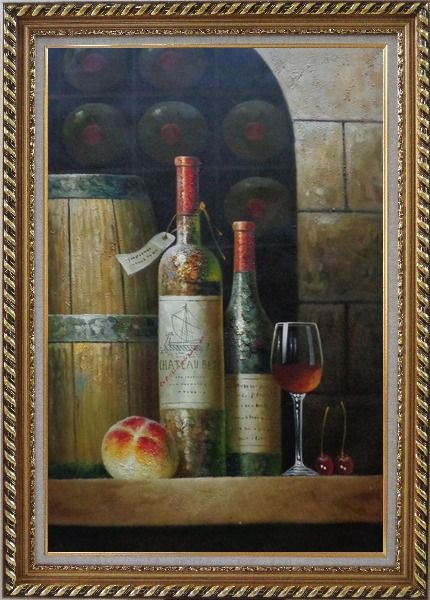 Framed Glass Of Red Wine, Bottles and Fruit on Ledge in Wine Cellar Oil Painting Still Life Classic Exquisite Gold Wood Frame 42 x 30 Inches