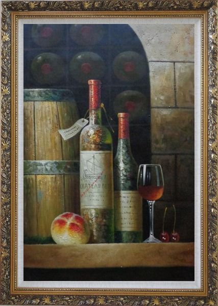 Framed Glass Of Red Wine, Bottles and Fruit on Ledge in Wine Cellar Oil Painting Still Life Classic Ornate Antique Dark Gold Wood Frame 42 x 30 Inches