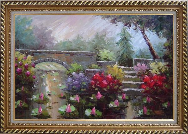 Framed Lotus Pond, Bridge,Steps in a Garden Oil Painting Naturalism Exquisite Gold Wood Frame 30 x 42 Inches