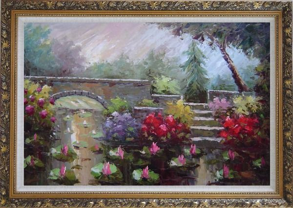 Framed Lotus Pond, Bridge,Steps in a Garden Oil Painting Naturalism Ornate Antique Dark Gold Wood Frame 30 x 42 Inches