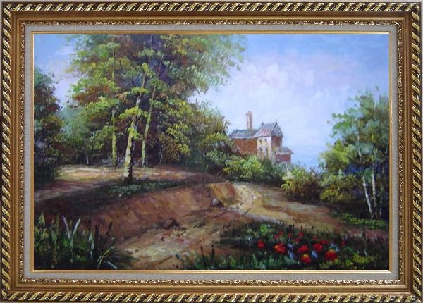 Framed Highland Garden Behind the House Oil Painting Landscape Classic Exquisite Gold Wood Frame 30 x 42 Inches