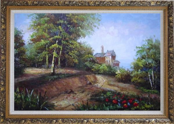 Framed Highland Garden Behind the House Oil Painting Landscape Classic Ornate Antique Dark Gold Wood Frame 30 x 42 Inches