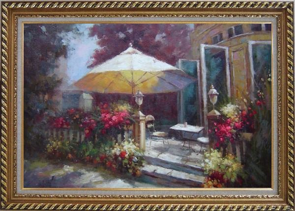 Framed Garden Retreat Oil Painting Naturalism Exquisite Gold Wood Frame 30 x 42 Inches