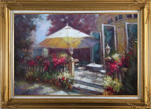Framed Garden Retreat Oil Painting Naturalism Gold Wood Frame with Deco Corners 31 x 43 Inches