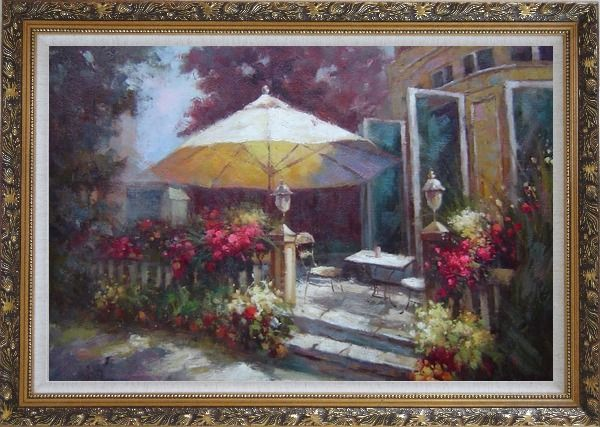 Framed Garden Retreat Oil Painting Naturalism Ornate Antique Dark Gold Wood Frame 30 x 42 Inches