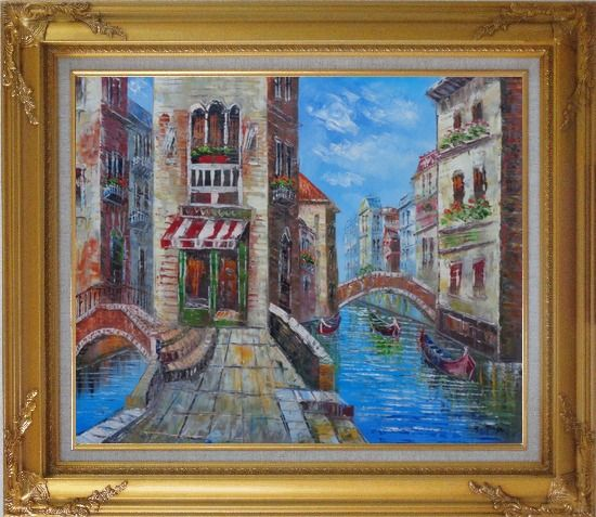 Framed Cafeteria Along Two Water Streets with Bridges in Venice Oil Painting Italy Naturalism Gold Wood Frame with Deco Corners 27 x 31 Inches