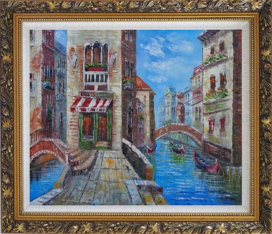 Framed Cafeteria Along Two Water Streets with Bridges in Venice Oil Painting Italy Naturalism Ornate Antique Dark Gold Wood Frame 26 x 30 Inches