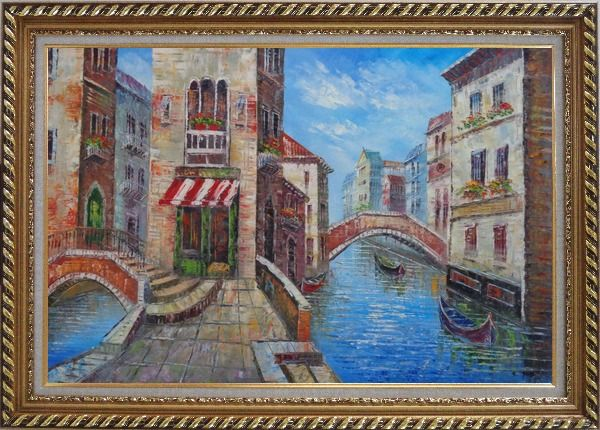 Framed Cafeteria Along Two Water Streets with Bridges in Venice Oil Painting Italy Naturalism Exquisite Gold Wood Frame 30 x 42 Inches