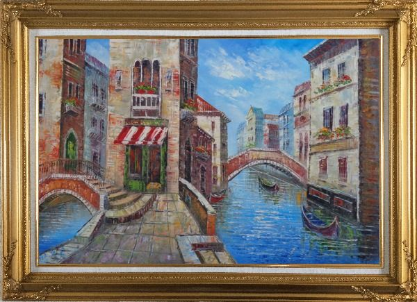 Framed Cafeteria Along Two Water Streets with Bridges in Venice Oil Painting Italy Naturalism Gold Wood Frame with Deco Corners 31 x 43 Inches