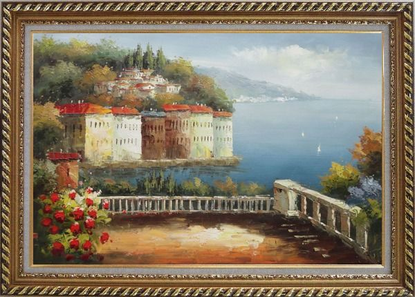 Framed Mediterranean Corner View Oil Painting Naturalism Exquisite Gold Wood Frame 30 x 42 Inches