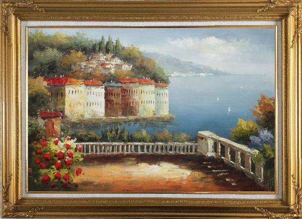 Framed Mediterranean Corner View Oil Painting Naturalism Gold Wood Frame with Deco Corners 31 x 43 Inches