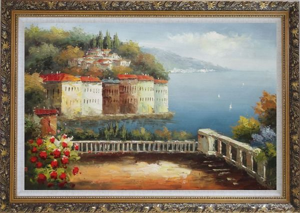 Framed Mediterranean Corner View Oil Painting Naturalism Ornate Antique Dark Gold Wood Frame 30 x 42 Inches