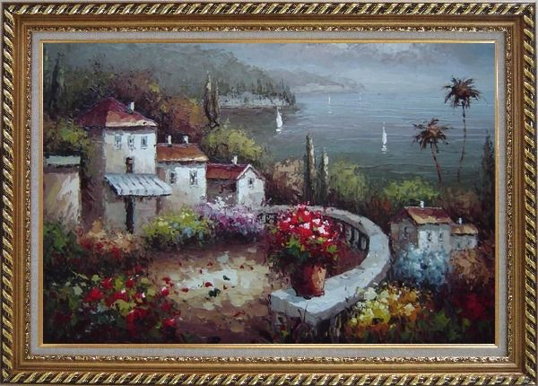 Framed Mediterranean Garden Before Storm Oil Painting Naturalism Exquisite Gold Wood Frame 30 x 42 Inches