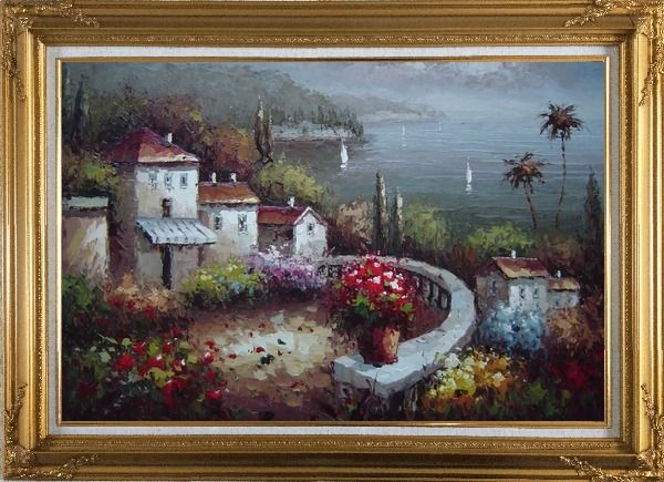 Framed Mediterranean Garden Before Storm Oil Painting Naturalism Gold Wood Frame with Deco Corners 31 x 43 Inches
