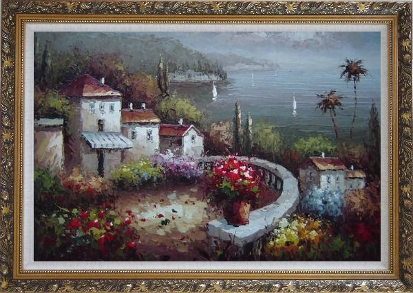 Framed Mediterranean Garden Before Storm Oil Painting Naturalism Ornate Antique Dark Gold Wood Frame 30 x 42 Inches