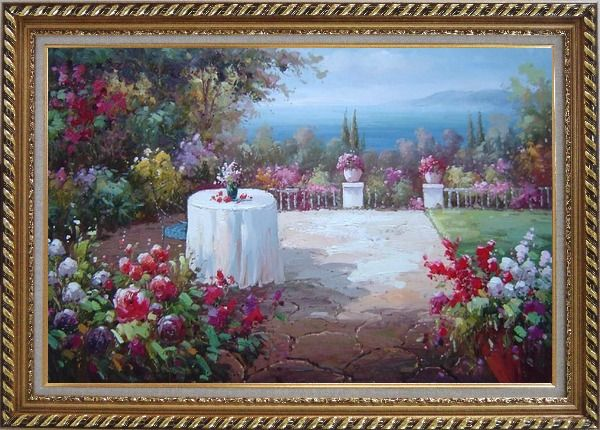Framed Peaceful Mediterranean Coastal Flower Garden Oil Painting Naturalism Exquisite Gold Wood Frame 30 x 42 Inches