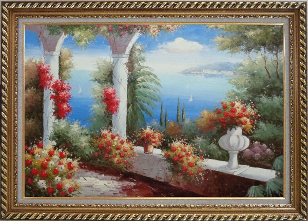 Framed Italy Pavilion with Crawling Flowers Oil Painting Mediterranean Naturalism Exquisite Gold Wood Frame 30 x 42 Inches
