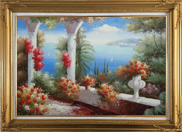Framed Italy Pavilion with Crawling Flowers Oil Painting Mediterranean Naturalism Gold Wood Frame with Deco Corners 31 x 43 Inches