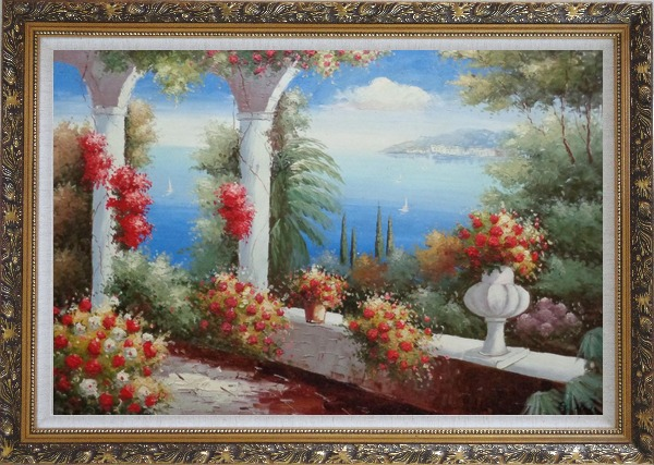 Framed Italy Pavilion with Crawling Flowers Oil Painting Mediterranean Naturalism Ornate Antique Dark Gold Wood Frame 30 x 42 Inches