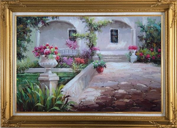 Framed Colorful Garden at Back Yard Oil Painting Naturalism Gold Wood Frame with Deco Corners 31 x 43 Inches