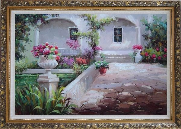 Framed Colorful Garden at Back Yard Oil Painting Naturalism Ornate Antique Dark Gold Wood Frame 30 x 42 Inches