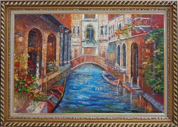 Framed Beautiful Venice Street with Parked Boats And Flower Covered Buildings Oil Painting Italy Naturalism Exquisite Gold Wood Frame 30 x 42 Inches