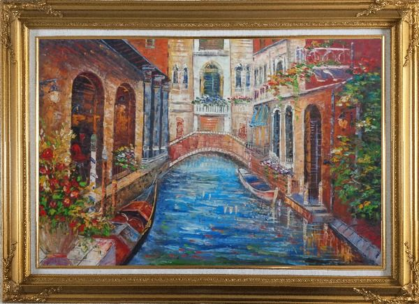 Framed Beautiful Venice Street with Parked Boats And Flower Covered Buildings Oil Painting Italy Naturalism Gold Wood Frame with Deco Corners 31 x 43 Inches