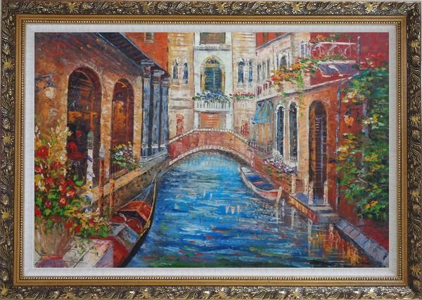 Framed Beautiful Venice Street with Parked Boats And Flower Covered Buildings Oil Painting Italy Naturalism Ornate Antique Dark Gold Wood Frame 30 x 42 Inches