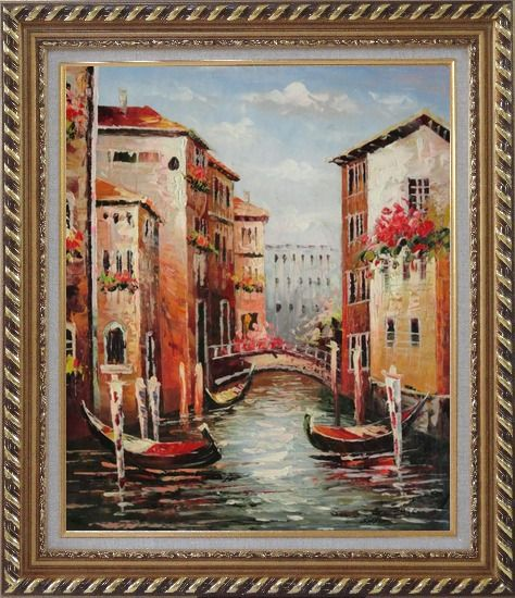 Framed Venice in Afternoon Sunshine Oil Painting Italy Impressionism Exquisite Gold Wood Frame 30 x 26 Inches