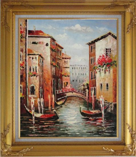 Framed Venice in Afternoon Sunshine Oil Painting Italy Impressionism Gold Wood Frame with Deco Corners 31 x 27 Inches