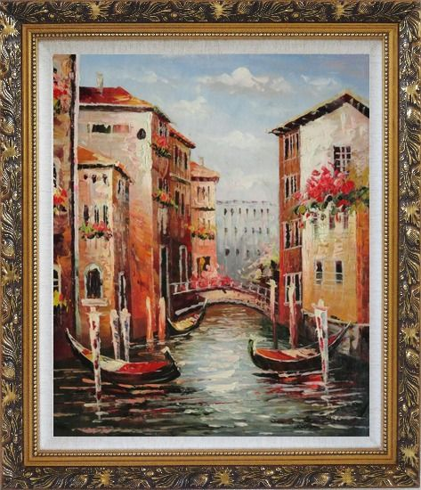 Framed Venice in Afternoon Sunshine Oil Painting Italy Impressionism Ornate Antique Dark Gold Wood Frame 30 x 26 Inches