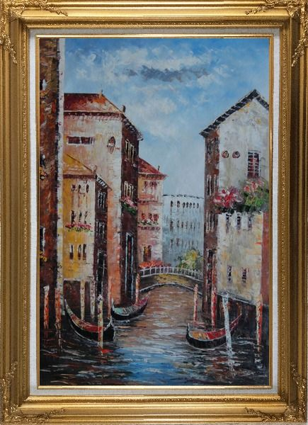 Framed Venice in Afternoon Sunshine Oil Painting Italy Impressionism Gold Wood Frame with Deco Corners 43 x 31 Inches