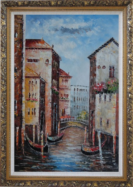 Framed Venice in Afternoon Sunshine Oil Painting Italy Impressionism Ornate Antique Dark Gold Wood Frame 42 x 30 Inches