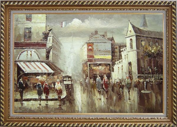 Framed Paris Street in Early 1900 Oil Painting Cityscape France Impressionism Exquisite Gold Wood Frame 30 x 42 Inches