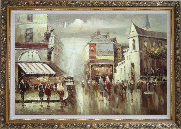 Framed Paris Street in Early 1900 Oil Painting Cityscape France Impressionism Ornate Antique Dark Gold Wood Frame 30 x 42 Inches