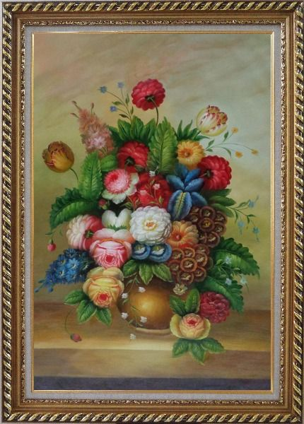 Framed Peony, Tulips And Other Blooming Flowers in a Vase Oil Painting Still Life Bouquet Classic Exquisite Gold Wood Frame 42 x 30 Inches