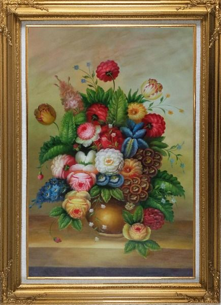 Framed Peony, Tulips And Other Blooming Flowers in a Vase Oil Painting Still Life Bouquet Classic Gold Wood Frame with Deco Corners 43 x 31 Inches